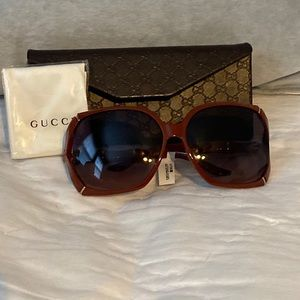 Gucci GG0505S Oversized Red Frame Sunglasses